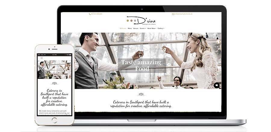 Dvine Catering Website Southport